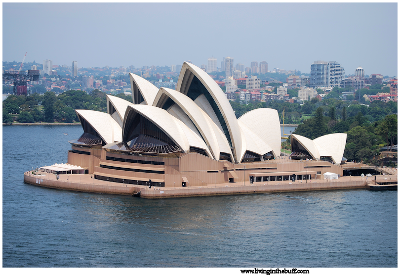 A classic view of the Sydney Opera House from the Harbor Bridge