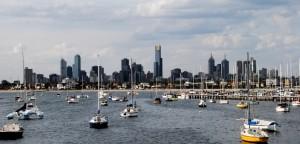 Melbourne, Australia as seen from the peer on St. Kilda beach