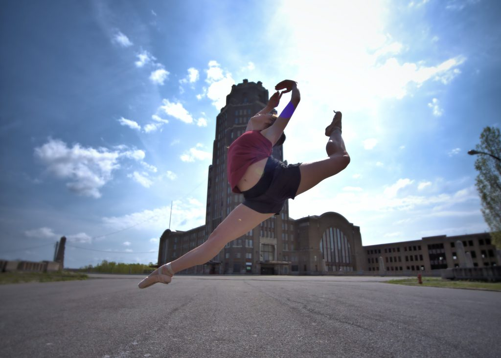 A Dancer Leaps In Front of the Iconic Buffalo Central Terminal